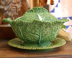 Vintage Majolica Cabbage Leaf Serving Bowl and Plate...probably Portuguese