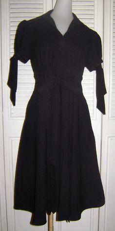 ABS by Allen Schwartz Black Dress Size 2 Button Short Sleeve #ABSbyAllenSchwartz #TeaDress #LittleBlackDress