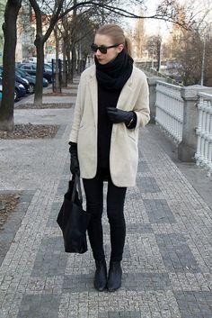 Céline Bag, Asos Ankle Boots, Topshop Coat, Zara Shawl