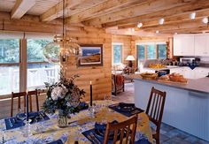 Kitchen and dining room of a log home