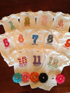 Month to Month Onesies with 6 Matching by Withjustalittlegrace, $115.00