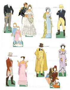 Regency Fashion Federal Era Paper Dolls Jane Austen Dress Vintage Printable Costumes Digital Download Sheets Homeschool / Altered Art Image