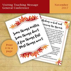 November 2017 LDS Visiting Teaching Message General Conference