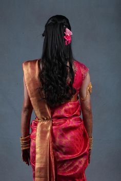 Indian bride's bridal reception #hairstyle by Swank Studio. Find us at https://www.facebook.com/SwankStudioBangalore