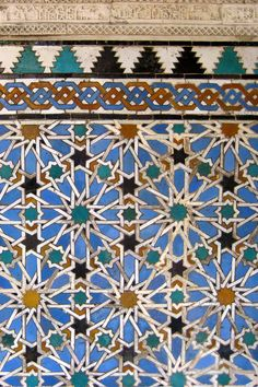 Sunday 8 February 2010. Moorish tile pattern at one of the patios of the Real Alcazar, Seville, Spain.