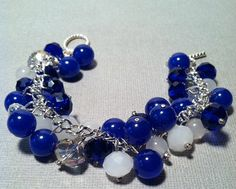Royal blue and white/clear beaded charm bracelet;; Want something along these lines for my wedding, but more white...