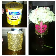 Up cycled enfamil cans made into royal princess center pieces! I just removed the enfamil sign, took glue and used a paint brush to get an even coat, then I used coarse glitter to cover the can! And I bought the wooden Fleur-de-Lis form A.C Moore! Then I just added hydrangeas for a royal sophisticated touch