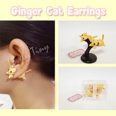 Kawaii Earring  Ginger Cat Stud Polymer Clay Handmade 3D