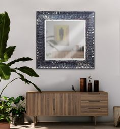Large hanging square mirror with pressed steel frame. The antique pressed steel frame with it's beautiful patina lends texture and authenticity to any room. Steel Frame, Outdoor Spaces, Authenticity, Texture, Mirror, Antiques, Wood, Beautiful, Home Decor