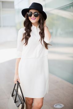 Black hat, bag, two part set: white shirt, pencil #skirt. #Summer street #elegant women fashion @roressclothes closet ideas