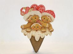 HP Gingerbread Fridge Magnet - Joyful Heart Ice Cream Cone - Item # JMP334