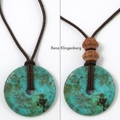 Turquoise pendant on leather cord with beads - Rena Klingenberg diy jewelry making Leather Jewelry, Leather Cord, Wire Jewelry, Jewelry Crafts, Beaded Jewelry, Wire Rings, Silver Jewelry, Dainty Jewelry, Leather Necklace