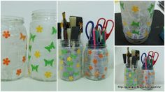 by Acasa Colt de Rai- Pencil holder in a mason jar decorated with paper and paper flowers and butterflies. Could be done with cartoon characters. Fun to do with kids.