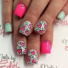 pink & teal cheetah print with hearts & studs