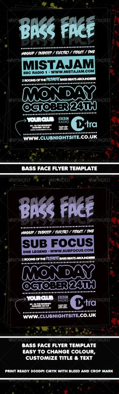 Bass Face Flyer Template — Photoshop PSD #dubstep #drum n bass • Available here → https://graphicriver.net/item/bass-face-flyer-template/1037073?ref=pxcr