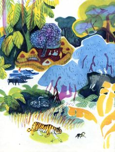 Mai Miturich Jungle Book 1976 Children's Book Illustration, Digital Illustration, Realistic Drawings, Russian Art, Ink Painting, Animal Habitats, Art For Kids, Graphic Art, Concept Art