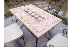 Table de jardin mosaïque en pierre naturelle TAMPA 160 et 200cm - Living'ROC