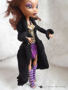 Hand knit long coat for: Pullip Blythe Monster High... by Naonu