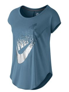Nike Signal Metallic Logo Womens Casual Fashion T-Shirt Blue-Silver - Ideas of Nike T Shirt Women Nike T Shirts Women's, Nike Crop Top, Black Socks, Pink Nikes, Running Shoes For Men, Blue And Silver, Pink Ladies, Nike Women, T Shirts For Women
