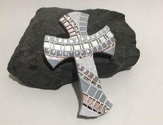Christening Gift for Girls Gray Pink by KeepsakeArtCrosses on Etsy