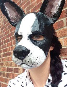 Buddy Tucker the Boston terrier paper mâché animal mask Etsy shop https://www.etsy.com/listing/225924242/dog-mask-paper-mache-animal-mask-papier