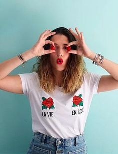 kaipih t-shirt organic cotton french embroidery life in pink - fashion brands and . Mode Plus, Coton Bio, Pink Fashion, Funny Tshirts, Fashion Brands, Organic Cotton, Dressing, Style Inspiration, T Shirts For Women