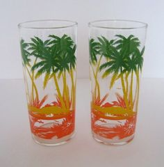 Vintage Pair of Palm Tree Iced Tea, Lemonade Drinking Glasses, Coastal -1970s