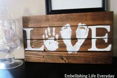 Hand and foot print love sign is super cute baby crafts, crafts to do, wood Butterfly Footprints, Baby Footprints, Butterfly Crafts, Baby Crafts, Crafts To Do, Crafts For Kids, Arts And Crafts, Craft Gifts, Diy Gifts