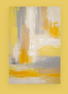 "Abstract Acrylic Painting Art on Canvas Titled: Mellow Yellow 24x36x1.5"" by Ora Birenbaum"