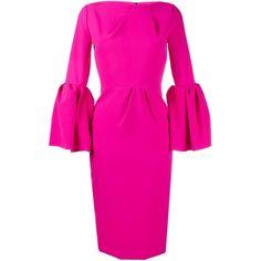 Roksanda bell sleeve dress (71.900 RUB) ❤ liked on Polyvore featuring dresses, back zipper dress, 3/4 length sleeve dresses, boat neck dress, roksanda dress and pink three quarter sleeve dress