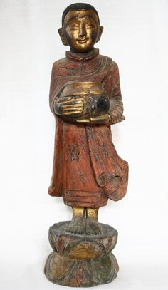 Antique Burmese Wood Carving of a Buddhist Monk available at… Woodworking Lessons, Best Woodworking Tools, Woodworking Patterns, Woodworking Workbench, Woodworking Crafts, Woodworking Quotes, Art Thai, Asian Sculptures, Awesome Woodworking Ideas