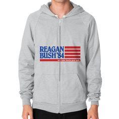 Reagan Bush '84 Flag Men's Zip Hoodie