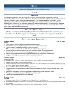 Tutor Resume: Samples & Template for 2020 Student Resume, Student Work, Resume Structure, Professional Resume Examples, Resume Summary, Special Needs Students, Writing About Yourself, Interactive Learning, Wish You The Best