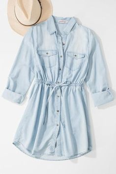 Tencel Denim Tunic - The Boutique Truck Girls Fashion Clothes, Teen Fashion Outfits, Outfits For Teens, Fashion Dresses, Casual Teen Fashion, Stylish Dress Designs, Stylish Dresses, Cute Dresses, Casual Dresses For Girls