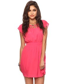 $24.80 Lattice Knotted Dress in bubble gum