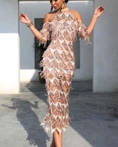 c35739c150 Flirtyfull Revelry Gold High neck Cold Shoulder Tassel Elegant Dress