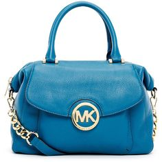 MICHAEL Michael Kors Large Fulton Pebbled Leather Satchel Bag ($328) ❤ liked on Polyvore