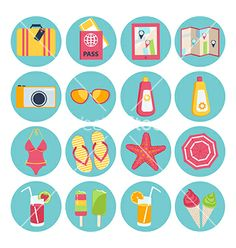 Set of summer vacation icons vector by veralub on VectorStock®