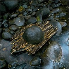 Andy Goldsworthy, 'River boulder reworked with sticks raining, Woody Creek, Colorado, September Haines Gallery Land Art, Andy Goldsworthy Art, Ephemeral Art, Landscape Elements, Landscape Architecture, Landscape Design, Outdoor Sculpture, Outdoor Art, Nature Artists