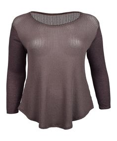 Brown Sheer Scoop Neck Top - Plus