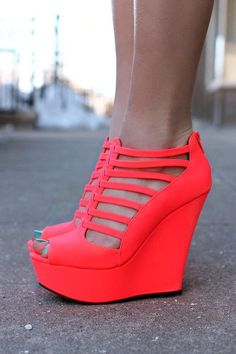 These stappy, neon-coral wedge are perfect for events in the summer/spring and are not expensive. They are drop dead gorgeous