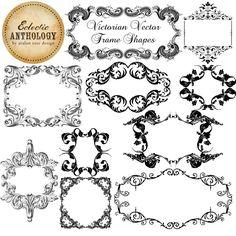 Victorian Vector Frames-Victorian, vector, frames, shapes, digital, commercial, png, transparent