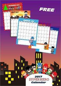 FREE Super Hero 2017 Calendar - This is such a cute free printable calendar for toddler, preschool, kindergarten, 1st grade, and 2nd grade kids. Perfect for homeschool