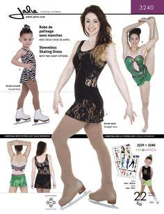 Jalie 3240  |  Tank skating dress with scoop neck, finished with elastic. V front, A-line skirt or shorter curved-hem skirt. Optional appliqués for a cut-out waist effect (C/D).