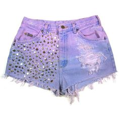 Dip dyed Studded Vintage Shorts ($50) ❤ liked on Polyvore featuring shorts, bottoms, high-waisted shorts, high rise denim shorts, high waisted cut off shorts, cut-off shorts and distressed high waisted shorts