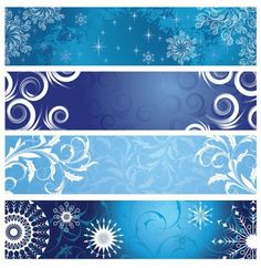 4 Blue Christmas Banners Vector Set - https://goo.gl/Nkiz6W
