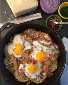 I love #leftovers on Sunday morning! There was a baked (shingled) potato left from our steak dinner, so it was scalloped and tossed in the #LodgeCastiron skillet with olive oil, red onions, parmesan, blue cheese, a few eggs and baked in the oven. Have a wonderful day! @zimmysnook