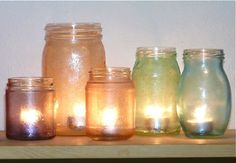 Mod Podge + food coloring + plain Mason-type glass jar = pretty & easy centerpiece or project for kids.