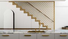This modern townhouse was designed by Luigi Rosselli Architects for a film director requires good planning and engaging imagery, the stair balustrade with fish scale brass screen
