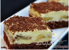 Egyszerű krémes banánszelet | TopReceptek.hu Creme Dessert, Sweet And Salty, Tiramisu, Sweet Tooth, Cheesecake, Deserts, Food And Drink, Pie, Sweets